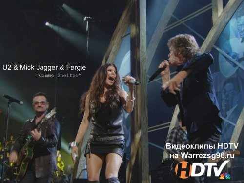 Клип (Live) U2 & Mick Jagger & Fergie - Gimme Shelter Full HD 1920x1080 (The 25 th Anniversary Rock and Roll Hall of Fame Concert)